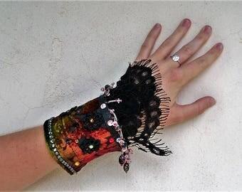Bohemian cuff bracelet, tapestry wrist cuff, embellished fabric bracelet, festival jewelry, black velvet, hippie cuff, gypsy bracelet, boho