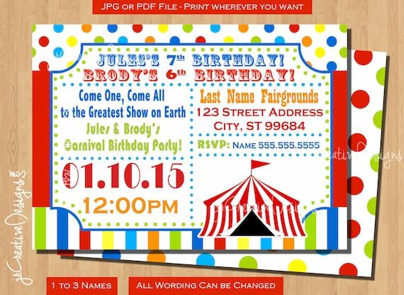 Circus Birthday Invitation Circus Invitation Carnival Invitation