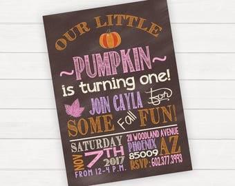 Fall Birthday Invitation Fall Birthday Invite Little Pumpkin Girl Birthday Invitation Pumpkin Birthday Invitation Pumpkin Birthday Invite