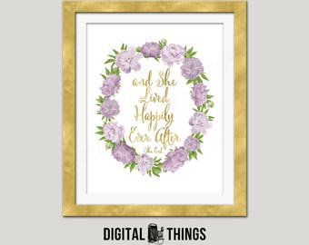 Faux Gold Foil Printable She Lived Happily Ever After Inspirational Quote Art Motivational Typography Print Digital Instant Download DT1987
