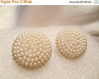 50% Off Sale White Pearl Seed Bead Round Button Mid Century Vintage Clip On Earrings