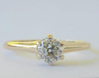 Victorian 14k Old mine cut Diamond solitaire engagement ring JR Wood and Sons .36 carat