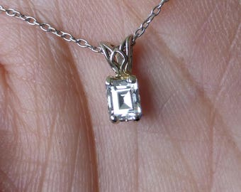 REDUCED 14k Emerald cut diamond solitaire necklace