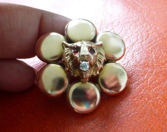 Antique Mine cut diamond LION gold Bracelet conversion Brooch