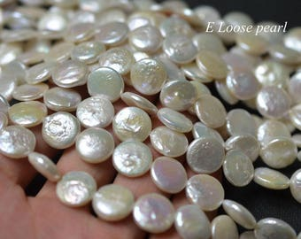 90%OFF Coin pearl Freshwater pearls wholesale pearl loose pearls Coin pearl necklace 11.5-12.5mm White 32pcs wedding Full Strand PL4331