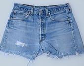 Vintage Levis 501 Cut Offs Distressed Cut-off Jean Shorts W 31