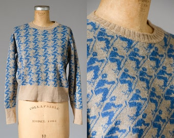 1960s Ski Sweater Revere Maple Knit Sportswear All Over Print Wool Knit Sweater