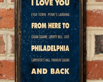 Philadelphia PA  I Love You From Here And Back Wall Art Sign Plaque Gift Present Personalized Custom Color Home Decor Vintage Style Antique
