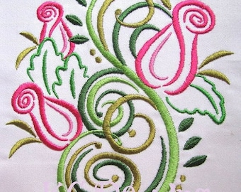 ON SALE Outline Roses Machine Embroidery Design - 4x4, 5x7 & 6x8
