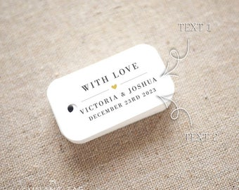 With Love Wedding Favor Tags - Personalized Gift Tags - Bridal Shower - Thank you tags - Party Tags - Favor Bag Tag (Item code: J731)