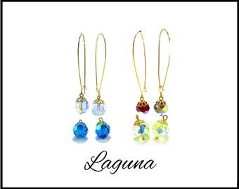 4 Pair Aurora Borealis Crystal Earrings, Long Gold Pierced Wires, Light Blue and Royal Blue AB, Red and Light Green AB, Gift for Her