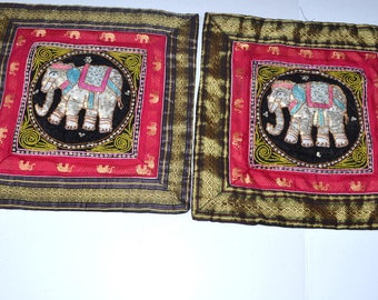 Vintage elephants sequin embroidered pillow covers Burgundy black pillow case Christmas pillow case Home sweet home vintage happy elephant