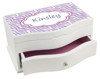 Personalized Lavender Zebra Deluxe Jewelry Box Animals Print Lavender Purple  jewef-pat-414