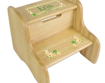 Irish baby gift etsy personalized shamrock stool irish baby gift natural wood kids stool two steps stools with shamrocks ireland negle Image collections