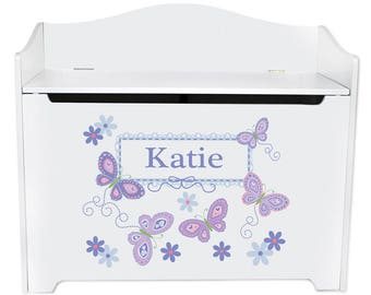 Personalized Toy Box Bench with Lavender Butterflies Design-bench-whi-300b