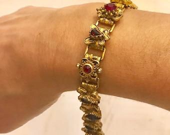 Vintage Brass Fleur De Lis Bracelet