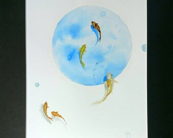 Matted Watercolor - Original Art - Koi Pond - Blue Bubble - Orange Goldfish - Home Decor - Kids Room - Zen Art - Swimming - One Of A Kind