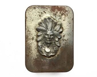 old tin box, vintage Native American portrait, headdress stamping, man cave decor, rusty vintage tin