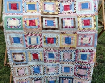 Vintage quilt top, unfinished quilt, quilt blocks, quilt supplies,