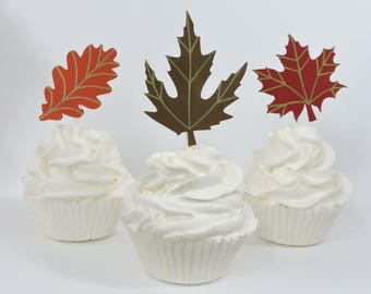Set of 12 Fall Leaf Cupcake Toppers for Fall Party Decor, Fall Birthday Decor, Fall Wedding Decor