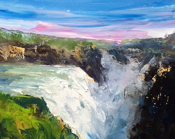 """Original 8"""" x 11"""" oil painting, fine art, alla prima waterfall piece, icelandic painting of gullfoss, landscape painting of iceland."""