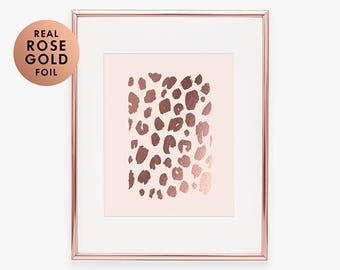 Rose Gold Foil Print LEOPARD PRINT Funny Kids Art Print Girls Nursery Poster Fearless Print Tropical Fashion Poster Blush Pink Decor B3