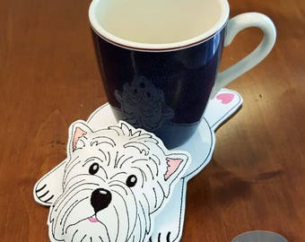 Westie Coaster, Mug Rug, West Highland Terrier