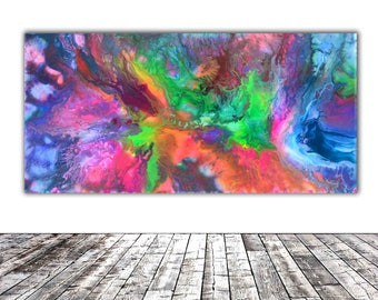 """MODERN ABSTRACT ART - 20x10"""" - Fusion 1, Modern Unique Original Fluid Abstract Painting Fine Art One of a Kind, Gift Wall Decor"""