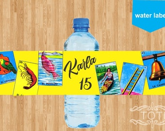 Mexican Loteria water label
