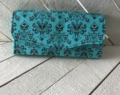 Necessary Clutch Wallet, Wristlet, NCW, Wallet, Clutch, Mansion, Haunted, Wallpaper, Spooky, Creepy, Haunted House