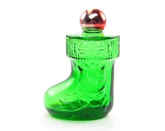 Christmas Surprise Avon Bottle Vintage Green Glass Stocking with Red Ball Lid