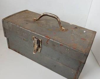 Vintage Tool Box - Industrial Storage - Rusty Tool Box - Rusty Metal Box - Garage Storage -Chippy Metal - Industrial Decor