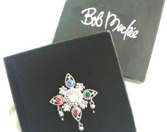 BOB MACKIE Maltese Cross Pin / Star Brooch