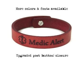 Medic Alert Bracelet, Medical Bracelet Leather, Engraved Medical ID Bracelet, Medical Alert Bracelet, Custom Leather ID Bracelet