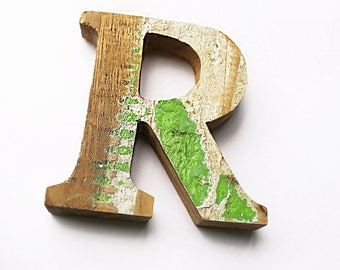 """Beach Decor Wooden LETTER """"R"""" Vintage Style Nautical by SEASTYLE"""