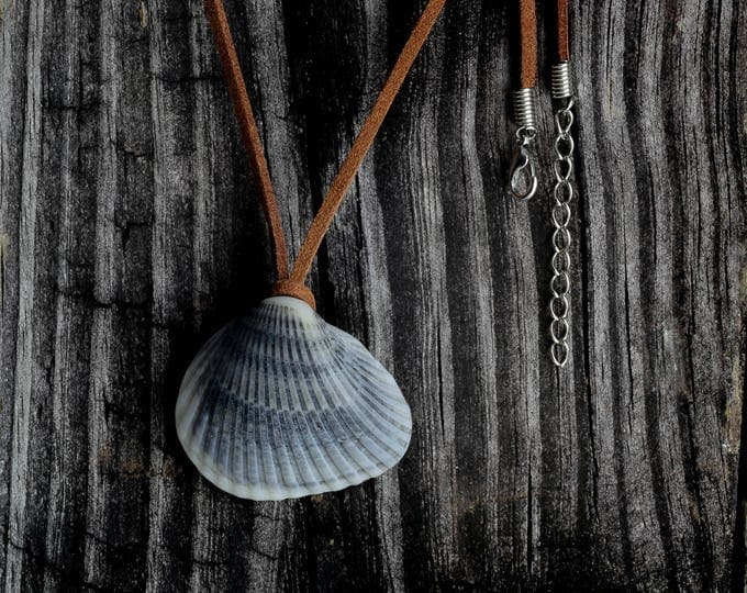 Boho Jewelry Gray Sea Shell Pendant Leather String Necklace Gift by VERO for SeaStyle