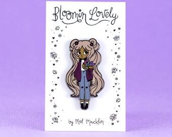 Bloomin' Lovely Hard Enamel Lapel Pin // Choc Blush Variant // Wearable Art, Jewelery, Flowers, Chibi, Cute, Kawaii, Girl