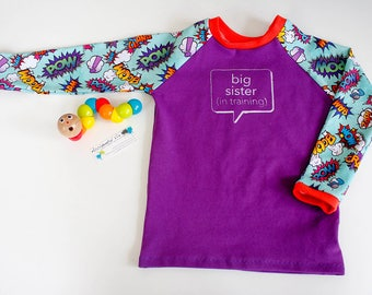 Big Sister sibling announcement top, big sis in training clothes, photo prop, new baby