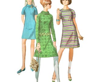 1960s Vintage Simplicity 7246 MOD RETRO Dress Pattern Size 10