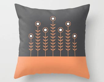 27 colours, Peach Rose, CHARCOAL background, SPRING SHOOTS, Minimalist Flowers pillow, Nordic, Faux Down Insert, Indoor or Outdoor cover