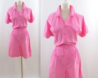 SALE Candy Pink Romper Shorts - Vintage 1980s does 50s Women's Playsuit in Small Medium by Earthquake