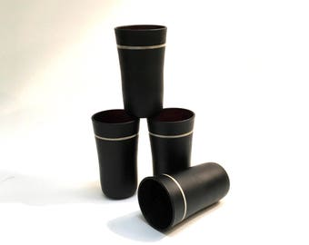 Vintage Black Glass Cordials, Shot Glasses, set of 4