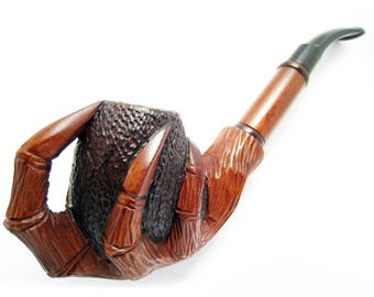 "Tobacco Smoking Pipe ""EAGLE CLAWS"" Churchwarden for Pipe Smokers and Tamper Tools, Long Pear Wood Wooden Pipes, Handcrafted - Exclusive"