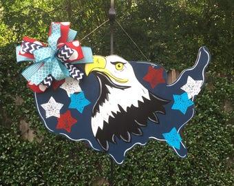 Patriotic Door Hanger, Eagle Door Hanger, American Flag Decor, Summer Door Hanger, Labor Day, Memorial Day, Veterns Day, 4th of July