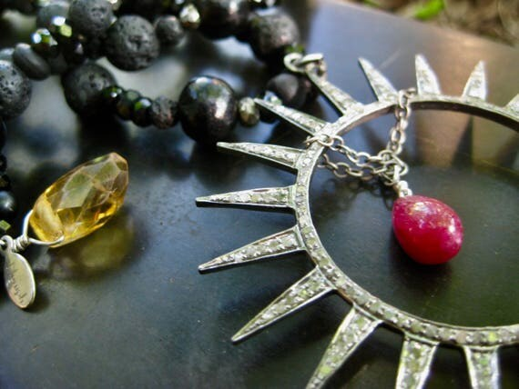 AADRIKA  Black Spinel, Lava, Ebony, Pyrite, DIamonds and Ruby Celestial Pendant Necklace