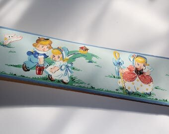 Vintage 1950s Wallpaper Border Mother Goose Dex Brand Wall Paper