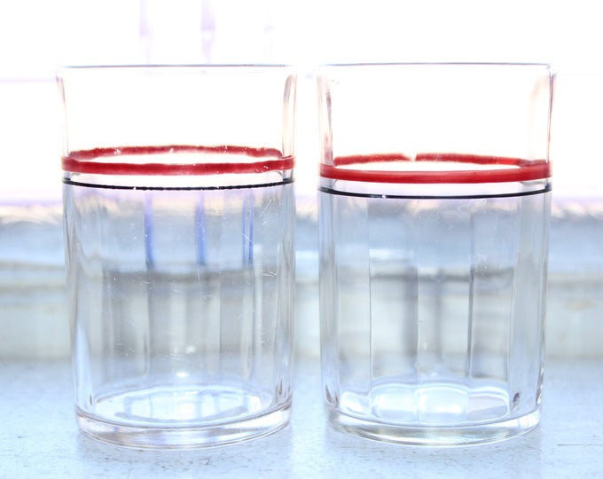 2 Swanky Swig Tumblers Red and Black Striped Vintage 1960s