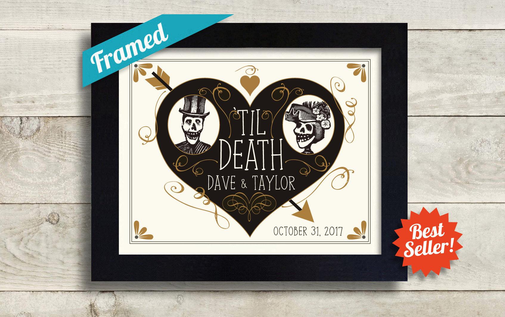 Unconventional Wedding Gifts: Unusual Wedding Gift Skeleton Couple Personalized Art Tattoo