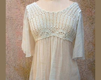 White Crochet Blouse Shirt, Vintage Beach Coverup Crochet Shirt, Dressbarn Brand , Size-M, Bohemian Top.
