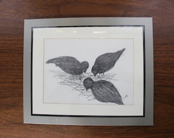 Mid Century Modern, drawing 3 birds, small, framed